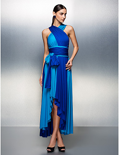 A-linje V-hals Asymmetrisk Jersey Skoleball / Formell kveld Kjole med Belte / bånd Plissert av TS Couture®