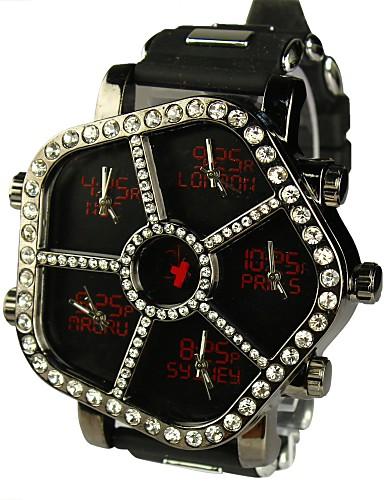 Unisex  Flag Dial Large Dial Five Time Zone Quartz Wrist Watch (Assorted Colors) Cool Watch Unique Watch
