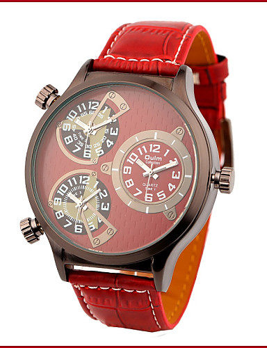 Men's Military Style Dual Time Zones Leather Band Quartz Wrist Watch Cool Watch Unique Watch