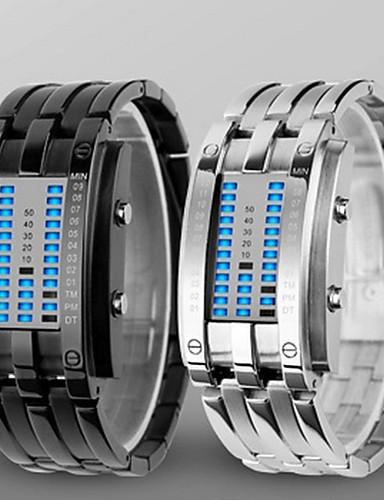 Herrn Digitaluhr Japanisch Wasserdicht Legierung Band Luxus Schwarz / Silber