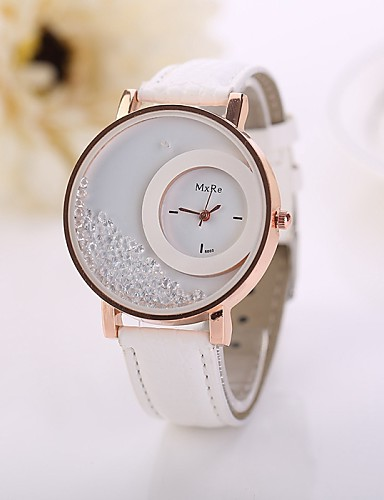 cheap Floral Watches-Women's Quartz Quilted PU Leather White / Red / Pink Imitation Diamond Analog Ladies Flower Fashion - Brown Red Blue One Year Battery Life / Jinli 377