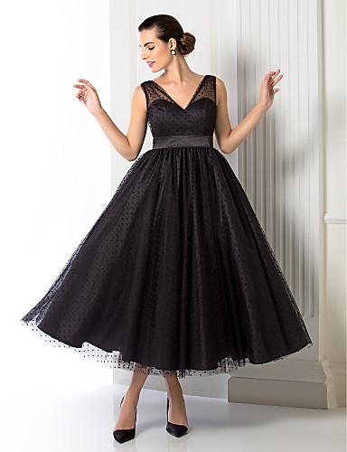 A-Linie V-Ausschnitt Tee-Länge Tüll Cocktailparty / Abiball / Formeller Abend Kleid mit Schärpe / Band durch TS Couture®