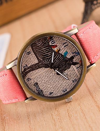 Homens Relógio de Pulso Quartzo / Couro Banda Vintage Casual Preta Branco Azul Vermelho Marrom Verde Cinza Rosa Amarelo