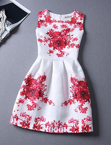 Mulheres Feriado / Praia Algodão Evasê Vestido Floral Altura dos Joelhos Branco