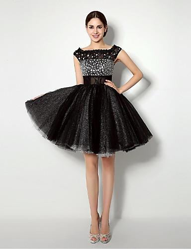 Suknia balowa krótka sukienka z krótkim suwaczem z sukni koktajlowych z koronką / wstążką