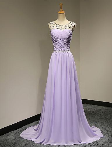 A-ligne scoop neck sweep / brush train chiffon robe de soirée formelle avec perles