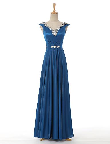 Γραμμή Α Λαιμόκοψη V Μακρύ Σατέν Επίσημο Βραδινό Φόρεμα με Χάντρες με VIVIANS BRIDAL