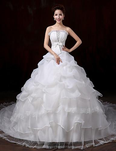Balowa Suknia ślubna Tren w stylu sądowym Bez ramiączek Koronka z