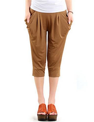 Women's Mid Rise Micro-elastic Harem Jeans Pants Solid Summer