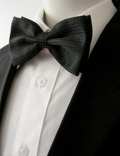 Men's Party Work Rayon Bow Tie - Solid Colored Bow Layered Basic
