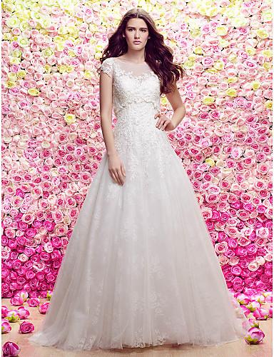 A-라인 공주 국자 목 스윕 / 브러쉬 트레인 레이스 튤 웨딩 드레스 와 아플리케 으로 LAN TING BRIDE®