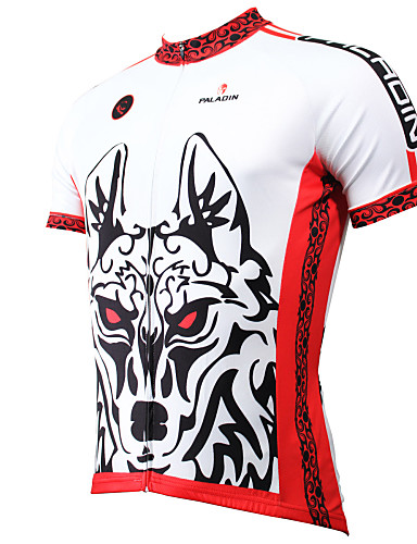 ILPALADINO Men s Short Sleeve Cycling Jersey - White Animal Bike Jersey Top  Breathable Quick Dry Ultraviolet Resistant Sports Polyester 100% Polyester  ... 12c9b3658