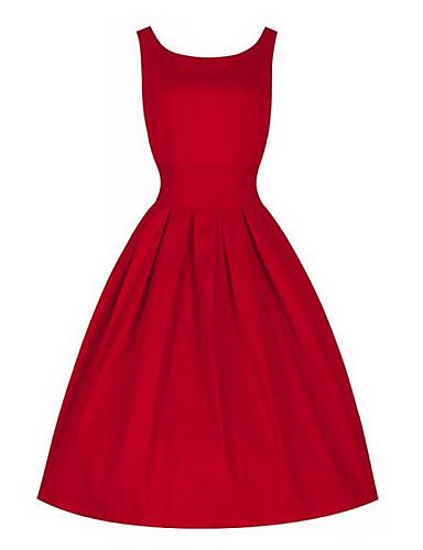 Pentru femei Vintage Bumbac Larg Rochie - Plisată, Mată Lungime Genunchi Roșu