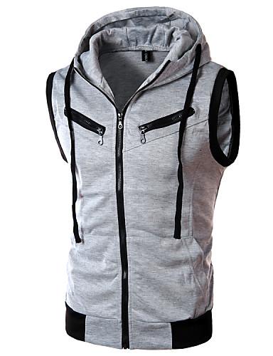 cheap Basic Hoodie Sweatshirts-Men's Sports Active Sleeveless Slim Hoodie & Sweatshirt - Solid Colored / Color Block Hooded Wine XL