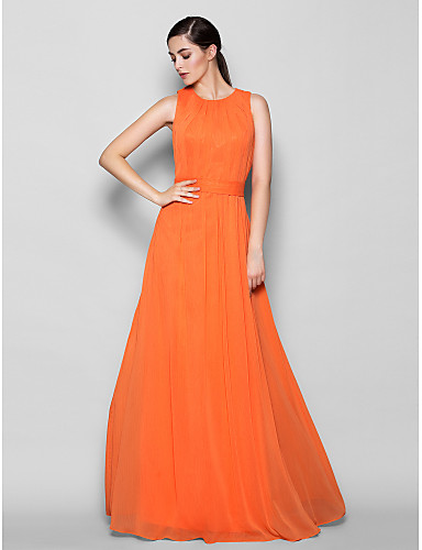 A-Line Jewel Neck Floor Length Chiffon Bridesmaid Dress with Criss Cross by LAN TING BRIDE®