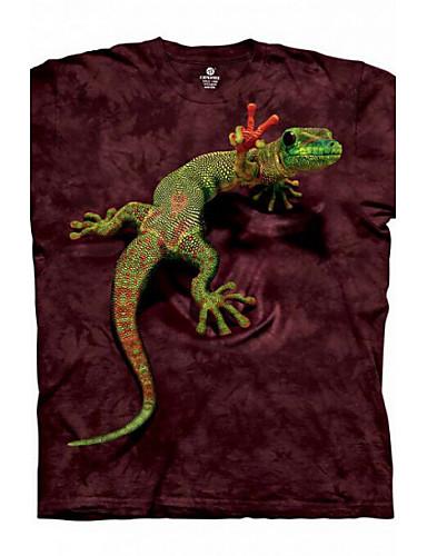 3D Printing Round Neck Short-sleeve Bandhnu Gecko T-Shirt (Cotton)