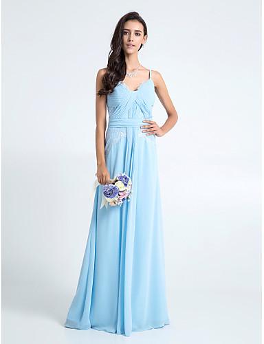 Ίσια Γραμμή Λεπτές Τιράντες Μακρύ Σιφόν Δαντέλα Φόρεμα Παρανύμφων με Δαντέλα Χιαστί με LAN TING BRIDE®