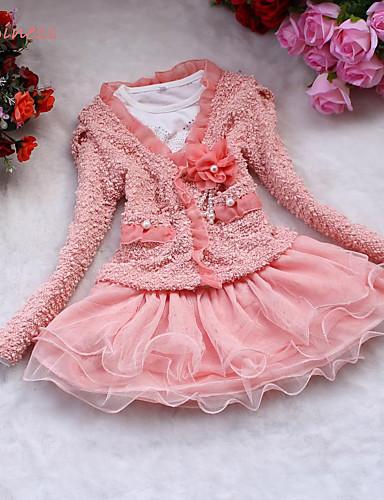 Mädchen Kleid Ausgehen Solide Baumwolle Polyester Winter Frühling Herbst Ärmellos Spitze Weiß Rosa