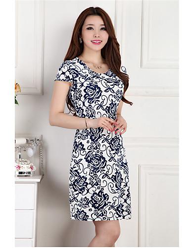 Γυναικεία Καθημερινά / Μεγάλα Μεγέθη Απλό / Κινεζικό στυλ Θήκη Φόρεμα,Στάμπα Κοντομάνικο Λαιμόκοψη U Πάνω από το ΓόνατοΜπλε / Ροζ /
