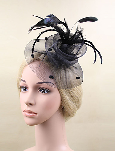 cheap Fascinators-Feather / Net Fascinators / Flowers with 1 Wedding / Special Occasion Headpiece