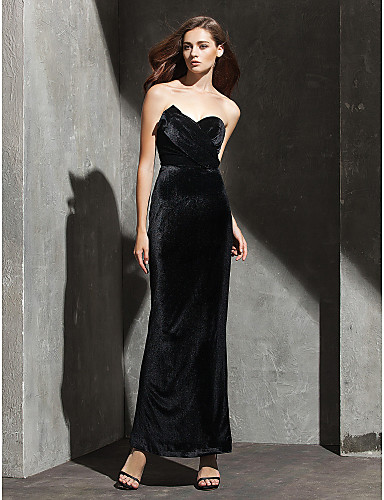 Sheath / Column Strapless / Sweetheart Neckline Ankle Length Velvet Celebrity Style Cocktail Party / Prom / Formal Evening Dress with Pleats by TS Couture®