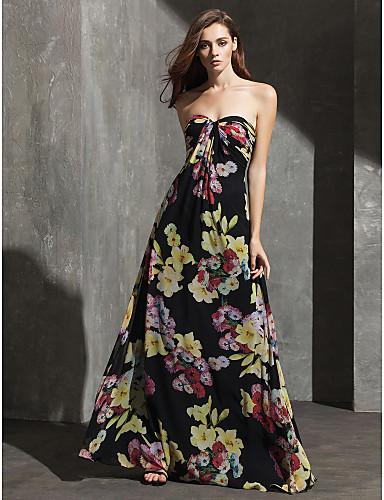 Sütun Kalp Yaka Yere Kadar Şifon Tema / Baskı ile Resmi Akşam Elbise tarafından TS Couture®