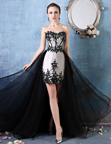 Mermaid / Trumpet Sweetheart Asymmetrical Lace Tulle Charmeuse Formal Evening Dress with Beading Lace by Huaxirenjiao