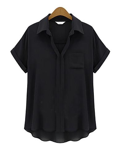 Γυναικείο Μπλούζα Καθημερινά Μεγάλα Μεγέθη Απλό Μονόχρωμο,Κοντομάνικο Κολάρο Πουκαμίσου Καλοκαίρι Λεπτό