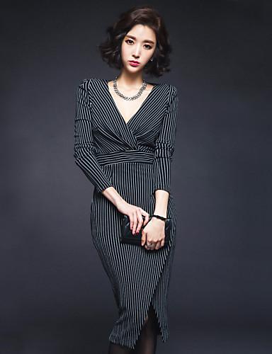 Γυναικείο Δουλειά Σέξι Κομψό στυλ street Εφαρμοστό Φόρεμα,Ριγέ Μακρυμάνικο Βαθύ V Μίντι Βαμβάκι Φθινόπωρο Κανονική Μέση Μικροελαστικό