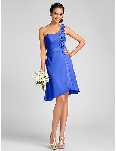 Ίσια Γραμμή Ένας Ώμος Μέχρι το γόνατο Σιφόν Φόρεμα Παρανύμφων με Λουλούδι Πλαϊνό ντραπέ με LAN TING BRIDE®