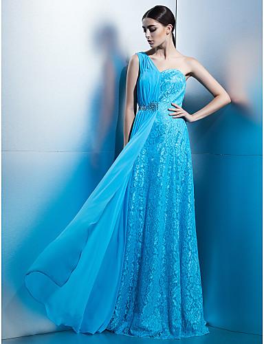 Ołówkowa / Kolumnowa Na jedno ramię Sięgająca podłoża Szyfon Koronka Kolacja oficjalna Sukienka z Fałdki Koronka przez TS Couture®
