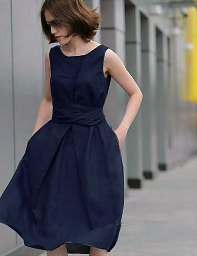 Γυναικείο Πάρτι Βίντατζ Φαρδιά Φόρεμα,Μονόχρωμο Αμάνικο Στρογγυλή Λαιμόκοψη Μίντι Λινό Καλοκαίρι Κανονική Μέση Ανελαστικό Λεπτό