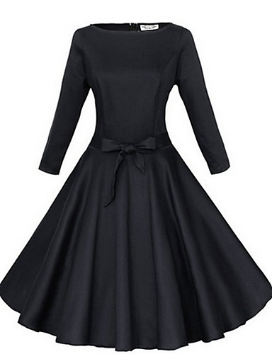 Women's Party Going out Vintage A Line Knee-length Dress,Solid Round Neck 3/4 Length Sleeves Cotton Spring Fall
