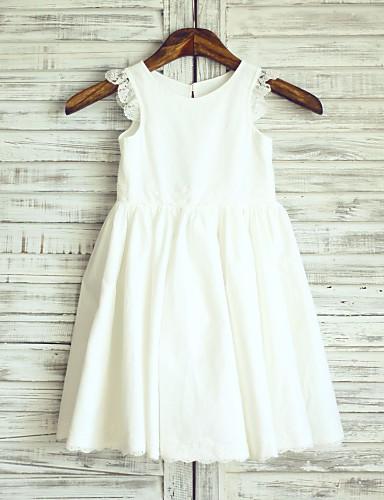 Πριγκίπισσα Μέχρι το γόνατο Φόρεμα για Κοριτσάκι Λουλουδιών - Βαμβάκι Δαντέλα Αμάνικο Scoop Neck με Πλισέ με LAN TING BRIDE®