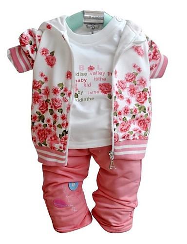 Κοριτσίστικα Σετ Ρούχων Φλοράλ Άνοιξη Φθινόπωρο Μακρυμάνικο Ροζ Σκούρο κόκκινο