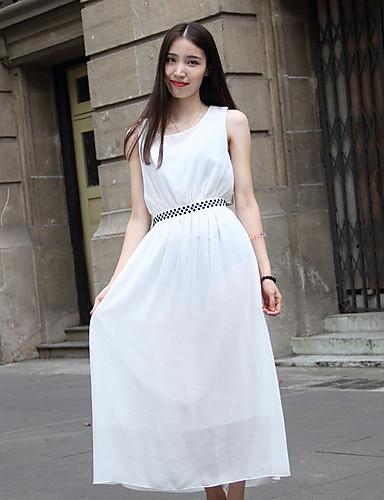 여성의 드레스 민소매 미디 쉬폰/폴리에스테르