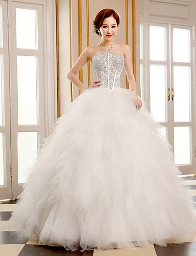 Balowa Suknia ślubna Sięgająca podłoża Bez ramiączek Tiul z Koraliki