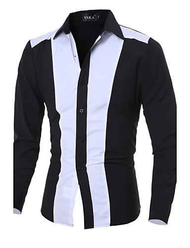Herren Solide Chinoiserie Lässig/Alltäglich Hemd,Klassischer Kragen Langarm Baumwolle