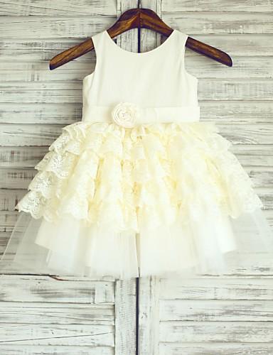 Πριγκίπισσα Μέχρι το γόνατο Φόρεμα για Κοριτσάκι Λουλουδιών - Βαμβάκι Δαντέλα Τούλι Σχήμα U με Λουλούδι(α) Ζώνη / Κορδέλα