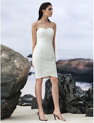Szűk szabású Szív-alakú Térdig érő Tüll Made-to-measure esküvői ruhák val vel Ráncolt / Cakkos által LAN TING BRIDE® / Kis fehér szoknyák