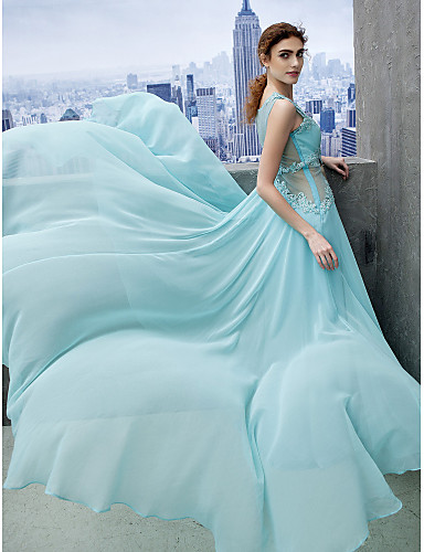 A-Line Scoop Neck Court Train Chiffon Prom Formal Evening Black Tie Gala Dress with Appliques by TS Couture®