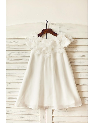 Sheath / Column Knee Length Flower Girl Dress - Chiffon Short Sleeves Scoop Neck with Flower(s) by LAN TING BRIDE®