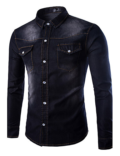 Men's Daily Solid Long Sleeves Cotton Polyester