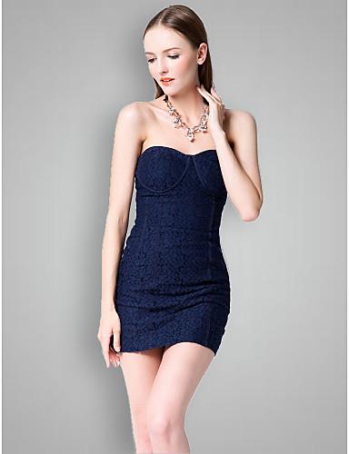 bad5ff396 Vestido de Dama de Honor - Azul Marino Oscuro Corte Recto Escote Corazón -  Corto Algodón