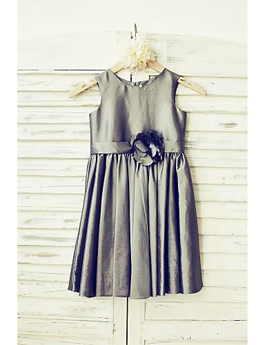 Fourreau / Colonne Mi-long Robe de Demoiselle d'Honneur Fille - Taffetas Sans Manches avec Fleur(s) Ceinture / Ruban par LAN TING BRIDE®