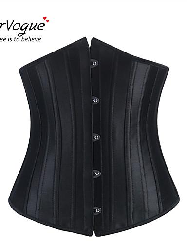 Burvogue Women's Shapewear 24 Steel Boned Black Sliming Corsets and Bustiers
