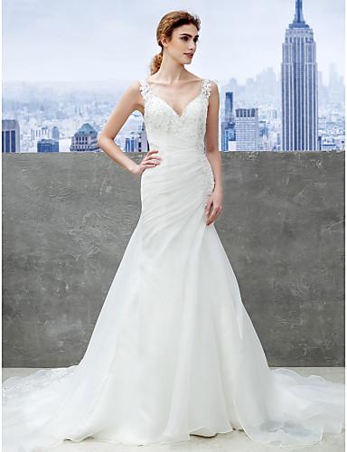 Sellő fazon Pántos Kápolna uszály Organza Egyéni esküvői ruhák val vel Rátétek által LAN TING BRIDE®
