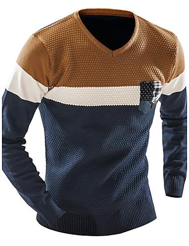 Herrn Wochenende Langarm Pullover - Einfarbig V-Ausschnitt