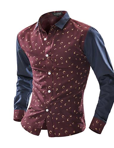 Pánské - Květinový Čínské vzory Košile Bavlna Klasický límeček