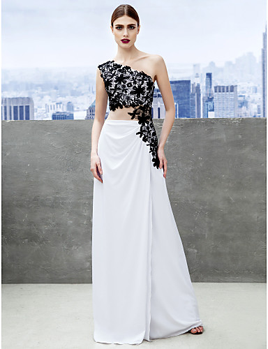 Sheath / Column One Shoulder Sweep / Brush Train Jersey Formal Evening Black Tie Gala Dress with Appliques by TS Couture®
